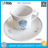 Fire Balloon Ceramic Turkish Coffee Cups with Plates