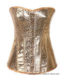 Women Steampunk Bustier Gold Corset Top Lace up Lingerie