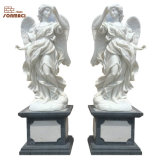 Life Size Natural White Marble Angel Garden Statue Sculpture