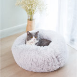 Hotsale Cute Cushion Soft Warm Colorful Long Plush Round Kennel Doughnut Dog Cat Pet Bed