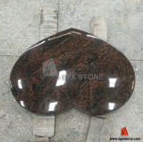 Aurora Granite Polished Flat Marker Single Cemetery Heart Shaped Monument