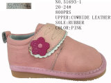 Pink Color Cowhide Leather Girls Fashion Shoes