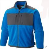 2015 Mens Contrast Color Patch Blue Winter Fleece Jacket