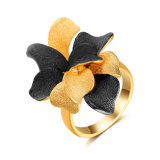 Black and Gold Color Flower Artificial Cocktail Ring Jewelry