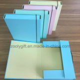 Solid Color A4 FC Office Paper File Case Box Cardboard File Holder with Elastic Closure