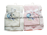 Micro Soft Coral Fleece Baby Blanket with Animal Embordery