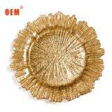 Best Selling Cheap Fancy Reef Silver Gold Glass Wedding Charger Plates