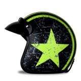 Motorcycle Motorcycle Half Open Face Leather Helmet with Goggles