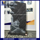 Big Mass Blue Granite Monument with Castle Church Carving
