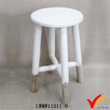 Vintage White Finish Wood Round Chair Garden Stool