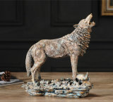 Home Collection Artificial Animated Forest Wolf Statue Made of Polyresin