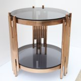 Metal Coffee Table with Tempered Glass Top