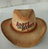 Top Quality Canada Raffia Straw Cowboy Hat with Logo Printing.