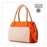 Guangzhou Factory Latest Unique Fashion Contrast Color PU Leather Design Female Women Tote Ladies Handbag