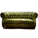 The Urban Chesterfield Sofa in Antique Green Leather