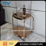 Stainless Steel Furniture Two Layer Gold Kithchen Trolley for Sale