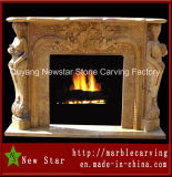 Hand Carved Natural Yellow Stone Fireplace for Wholesale (NS-1223)