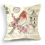 Decoration Square Bird Design Decor Fabric Cushion W/Filling