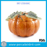 Halloween Gift Ceramic Pumpkin Bowl with Lid