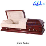 Poplar China Wholesale Velvet Interior Funeral Solid Wood Casket and Coffin