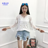White Women Blouse Sexy Lace Crochet Boho Casual Beach Bikini Cover up Blouses Shirt Tops Cheap Clothes China