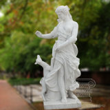 Hot Sell Marble Statue of Beautiful Girl with Deerlet Sculpture Garden Decoration Gift