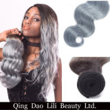 "Lili Beauty Body Wave Ombre Brazilian Hair Weave Bundles 100% T1b Grey 8""-30"" Non Remy Human Hair Bundles"