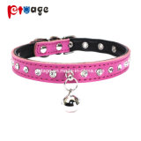 Pet Product Crystal Dog Collar Clear Bells Leather Pet Collar