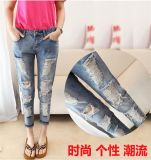 P1311 2015 Fashion Ladiesboyfriend Jeans Ripped Women Washed Capris Jeans Loose Holes Denim Female Cowboy Trouser for Wholesale
