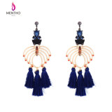 Elegant Crystal Studded Hollow Blue Tassel Alloy Long Women′s Earrings