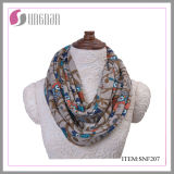 Warm Flannel Multicolor Owls Printing Infinity Scarf (SNF207)