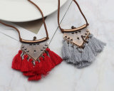 Leather Chain Long Tassel Pendant Ethnic Necklaces for Women