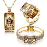 Saudi Gold Rhinestone Fancy Design Women Wedding Jewelry Set