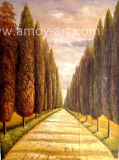Chinese Handmade Forestry Road Landscape Oil Painting for Wholesale