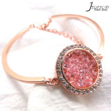 Fashion Jewelry Pink Diamond Zircon Stone Rose Gold Plated Bangle for Women