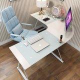 Home Office Furniture L Shape Tempered Glass Computer Desk