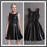 Wholesale Designer Women Clothes Autumn Black PU Sleeveless Party Dress