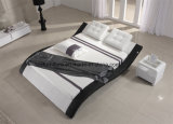 Modern Adjustable Leather Bedroom Bed with Wooden Slat