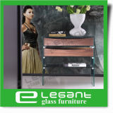 Modern Glass Console Desk with Ash Wood Veneer Drawers