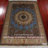 4X6 Blue Iran Persian Qum Design Handmade Pure Silk Carpet
