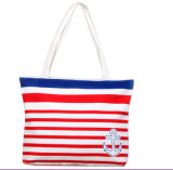 Fashion Canvas Stripe Handbag Shoulder Bag Casual Shopping Bag