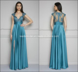 Turquoise Prom Gowns Split Lace Party Evening Dresses Z5034