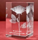 Flower Laser Engraving 3D Crystal Glass Cube for Wholesales