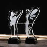 Butterfly Design Popular Crystal Glass Dancing Trophy Gifts