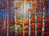 Handmade Forestry Birch Landscape Canvas Wall Art Prints Oil Paintings