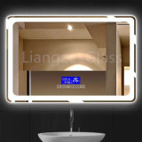 Wholesale Rectangle Illuminated LED Light Bathroom Mirror with Digital Clock for Hotel