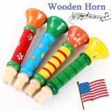 Wholesale Baby Kids Wooden Horn Hooter Trumpet Instruments Music Educational Toy for Kids