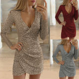Women Sexy Deep V Neck Dress Sequin Glitter Bodycon Stretchy Mini Party Prom Dresses Ball Gown