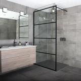 Bathroom Black Aluminium Framed Colored Glass Shower Screen with Grid