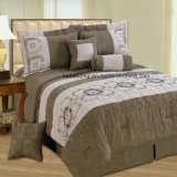 Micro Suede Patchwork and Embroidery Design Queen/King Size Bedding Set